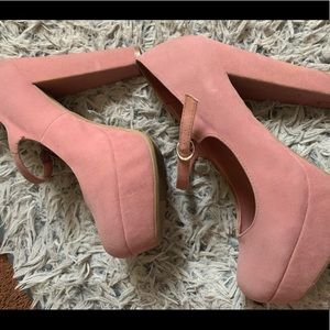 Pink faux suede Mary Jane heels